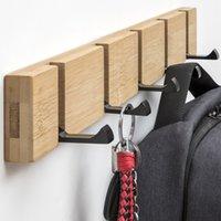 Holz Wandaufhänger Bambus-Legierung Rack Haken Aufhänger Halterung Kleidung Lagerung Organizer Hidden Wandhaken Für hängende Home Decor 201219