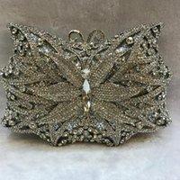 Xiyuan BRAND Schmetterling Kristallrhinestones Frauen Blumen-Abend-Geldbeutel-Metallhandtaschen Hochzeit Prom Party Box Clutch Bag