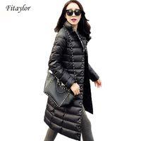 Fitaylor Yeni Kış Kadın Ceketler 90% Beyaz Ördek Aşağı Parkas Ultra Işık Aşağı Ceket Rahat Sıcak Kar Palto 201103