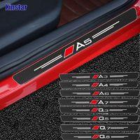 4pcs 탄소 섬유 문 Sills 가드 스티커 Audi Sline Quatra A3 A4 A5 A6 A7 A8 TT Q3 Q5 Q7 A1 B5 B6 B7 B8 B9 8P C6 C5 C7