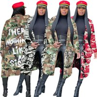 Women designer jacket jean coat luxury fashion long coat denim camouflage print comfortable jacket 4 colors women tops hot selling klw5443