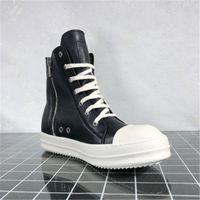 RO HOMBRES Zapatillas de deporte de cuero Moda Hombres blandos Botas de cuero High Top Top Black Negro Otoño Zapatillas de Invierno 10 # 20 / 20D50