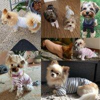 탄성 바닥 셔츠 애완 동물 개 스트라이프 옷 코튼 따뜻한 겨울 티셔츠 고양이 강아지 cosstume 의류