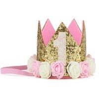 Accessoires de cheveux Bébé Fille First Anniversaire Decor Décor Fleur Capuchon Crown Bandeau de Crown 1 2 Numéro Numéro Prinin Style Chapeau Accessoire