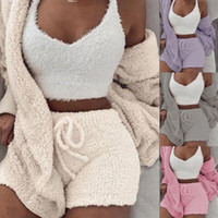 3 Pcs / set Inverno Sexy Women Wear Início Suit Casual Pijamas Set Lady Feminino macio morno manga comprida Exposed FY9257 Navel Vest Shorts Set