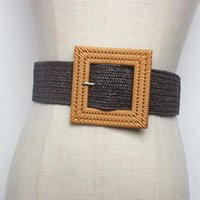 New Design Casual Girl Square buckle Big resin elastic belt Straw Belts Braided Woven Waistbands Hot Sale strap for dress coat