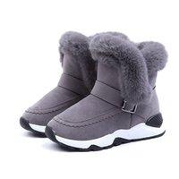 Cuzullaa Girls Cálido Forro de peluche Botas de nieve Zapatos de invierno Niños antideslizantes de goma Suela de goma Botas de tobillo Tamaño 26-36 LJ201029