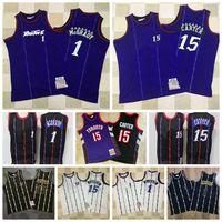 Retro Vince 15 Carter Jersey Tracy 1 McGrady Jerseys Vintage 100% Stitching Mitchell Ness College Basketball Jersey
