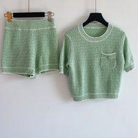 2020 1219 otoño marca el mismo estilo suéteres tripulación cuello de impresión regular manga corta dos piezas conjuntos de impresión verde rojo ropa ropa qian