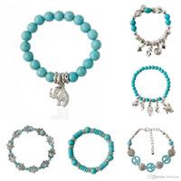 Charm Bilezikler Vintage Charms L Fil Kuş Kolye Bilezik Güzel JewelryTurquoise Boncuk Bilezik