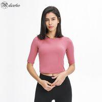 Тонкий короткий спортивный фитнес средняя рукава футболка простые сплошные цвета женские йоги носить пятиточечный рукав
