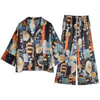 Урожай Лоскутных Женщины пижамы Установить Роскошный Кардиган Pattern Lady Sleepwear Ретро Printed Женских двухкусочная Главная Одежда