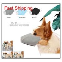 Máscara de perro mascota con máscara suave Cara de algodón Mask 3pcs PET respiratorio PM2.5 Hocico de perro transpirable con Mesh Air Mesh PE Qylxhc Packing2010