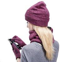 النساء الشتاء القبعات الأوشحة قفازات كيت الأزياء محبوك بالإضافة إلى قبعة المخملية وشاح مجموعة للذكور أنثى 3 قطع / مجموعة بيني وشاح قفاز Y201024