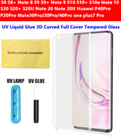 Full Cover UV Liquid Glue 3D curvo vetro temperato protector per Samsung NOTE20 S20 S10 Huawei p40 p30 mate30 pro uno Ultra Plus 7Pro