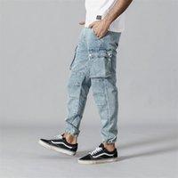 Simwood Primavera New Cargo Calças de Jeans Homens Moda Hip Hop Spled Street Wear Tornozelo - Comprimento Denim Calças Soltas Calças 190332 Y200901