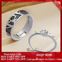 Thaya Silver 925 Jewelry 3D Texture Rings Black Little Deer Crown Couple Sterling Silver Rings For Women Engagement Gift 201112