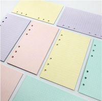 5 ألوان A6 فضفاض ليف بلون الملونة الملء الملء دوامة الموثق مؤشر صفحة مخطط أجندة الأوراق الحشو الداخلية الملحقات دفتر الملحقات