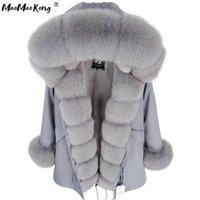 Мамаоконг Серый Натуральный Натуральный Фокс Меховая Куртка Пальто Женщины Мода Реальный Шубой Пальто Длинные Parkas Winter Black Parka 201022
