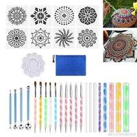 32 adet Mandala Dotting Araçları Boyama Kalem Fırçalar Stencil Boya Tepsi Kiti Kaya Çömlekçilik Boyama Çizim N27 20 Dropshipping1