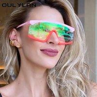 Güneş Gözlüğü Oulylan Moda Marka Tek Parça Düz Kadın Erkek Vintage Boy Lens Güneş Gözlükleri Kadın UV400 Zarif Gözlük