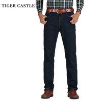 Тигр замок мужская высокая талия джинсы хлопчатобумажные толстые классические растягивающие джинсы черный синий мужской джинсовые брюки пружины осень мужские комбинезоны 201120