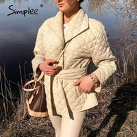 Simplee Warm short cotton padded parkas womens New belted autumn winter coats female Long sleeves elegant lapel overcoat 201014