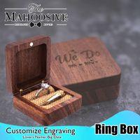 Madeira anel portador caixa de madeira rústica noivado de casamento anel de casamento caixa gravada nome quadrado presente de jóias de madeira