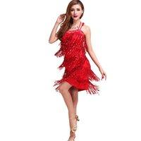 Sahne Giyim 2021 Kızlar Kadınlar Için Dans Elbise Latin Balo Salonu Sequins Püskül Kostüm Vestidos