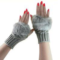 أزياء الشتاء النساء قفازات أفخم فو الفراء الحياكة الصوف الحفاظ الدافئة قصيرة القفاز أصابع سيدة فتاة نصف اصبع قفاز AIC881