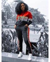2 Adet Set Sonbahar Kış Seksi Kadınlar 2PCS Kıyafet Moda Casual Tasarımcı eşofman Leopar Kasetli Kapüşonlular Bayan Giyim yazdır