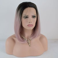 Bombshell Black Ombre 핑크 짧은 스트레이트 밥 합성 레이스 프론트 가발 방열 섬유 머리가 가발을위한 중간 이별