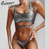 Snake Snake Bikini Sexy Sexy Sexy Mulheres Neon Swimwear Feminino New Chain Bathing Terno Brasileiro Baquini Mujer T200115