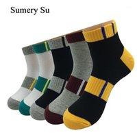 5 paia / lotto calzini alla caviglia uomo spesso cotone strisce colorate all'aperto casual compressione corto calzini corti meias maschio1
