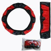 1 шт 37 ~ 38см углеродного волокна кожаный автомобиль руля крышка нескользящей черный красный1