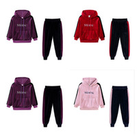 아기 소녀 Tracksuit 봄 가을 골드 벨벳 정장 어린이 긴팔 후드 스웨터 바지 두 조각 복장 스포츠 Suits G12803