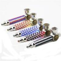 LED Işık ile Tütün Çanta Sigara Sigara 97mm Metal Boru Elmas Çinko Alaşım Duman Kase 5 Renkli Borular