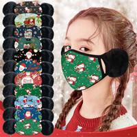 2021 Máscaras Año Nuevo algodón de los niños la Navidad con la orejera caliente de invierno a prueba de viento reutilizable lavable Boca máscara máscaras partido de la historieta