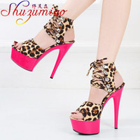 Сандалии Shuzumiao Женские Обувь 2021 Мода Флода Леопард Четкие Высокие каблуки Платформа Ремешок Сандалии Съемница Femmes