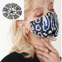 Pailletten-Leopard-Druck-Gesichtsmasken Sommer-Doppelschicht-Tuch-Maske-Staub- und Trübungsverhinderung mit einstellbarer Schleife