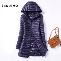 SEDUTMO Winter Ultra Light Duck Womens Down Jackets Plus Size 3XL Long Down Doat Puffer Jacket Slim Hooded Parkas ED038 201028