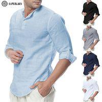 Siperlari الرجال قمصان طويلة الأكمام القطن الكتان عارضة تنفس مريحة قميص الأزياء نمط الصلبة الذكور فضفاضة الرجال قميص 1