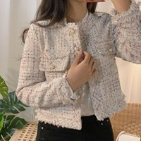 ZAWFL Herbst-Winter-Tweed-Jacken Damen O-Ansatz lange Hülsen-loser Wollmantel Einreiher Outwear Jahrgang Harajuku 201013