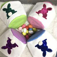 Party Bunny Polique de Pâques 4 Couleurs Canvas Sequin Réversible Bucket de lapin Enfants Sac de rangement des œufs à queue ronde Fournitures