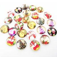 Bilezik Bileklik Takı DIY Aksesuar 50pcs / lot için Cam Noel 18mm Snap Düğme Noel Baba Kardan Adam Noosa Chunks Düğmeler Charms