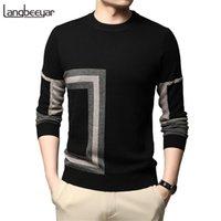Новая мода High End English Designer Brand Knit Черный шерстяной пуловер свитер экипаж шеи Autum зимняя повседневная джемпер мужская одежда 201214