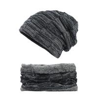Gruesa de punto Beanie Mujer Hombre Unisex Sombreros de invierno para las mujeres de los hombres de la vendimia de la alta calidad de Mantener caliente Beanie sombrero de la bufanda Conjunto Skullies