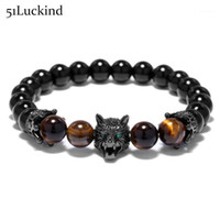 Coole Tierkopf Wolf Design Strang Armband Luxus Krone Natürliche Stein Punk Braclets Für Männer Biker Schmuck Zubehör1