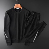 Fashion splicing knitted sweater suit men' s sports spri...