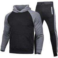 Осень зимние мужские толстовки и брюки двух частей набор плюшевых сплошных цветовых досуг спортивный костюм азиатский размер S-XXXL